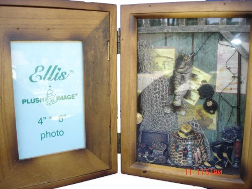(Fishing Shadow Box Picture Photo Frame - Great Gift for Home Decor, Wall Decor Art, Or, Tabletop Decor)