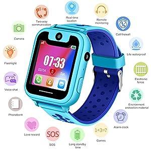 Niños Smartwatch – Reloj de Pulsera Inteligente con ubicación GPS/LBS Reloj Despertador SOS Reloj Digital Cámara Linterna Juegos para niños compatibles con iOS/Android 51gKwvKSwCL