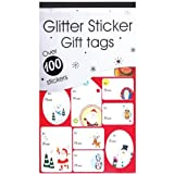100 x Christmas Xmas Red & Green Glitter Sticker Gift Tags