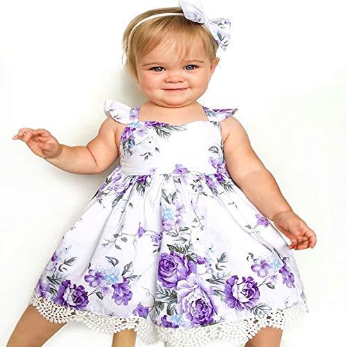 Girls' 1t-6t Cotton Floral Dress Summer Backless Casual Sundress