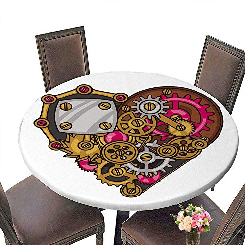 PINAFORE Chateau Easy-Care Cloth Tablecloth Steampunk he Collage of Metal Gears in Doodle Style for Home, Party, Wedding 43.5