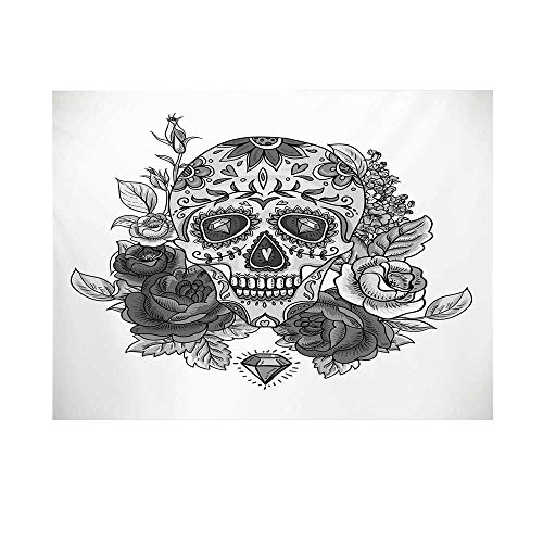 Sugar Skull Photography Background,Monochrome Skull with Roses Leaves and Diamond Shape Folklore Festival Print Decorative Backdrop for Studio,10x10ft ()
