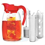 Primula PFRE-3725 Beverage System - Includes Fruit, Tea Infusion Chill Core, 2.9 quart, Red