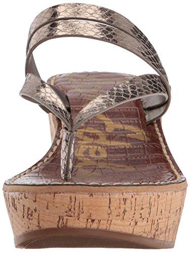 Boa Edelman Rasha Metallic Sandal Wedge Pewter Sam Women's 0Hdpn7x7