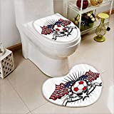 vanfan 2 Piece Shower Mat set Stripes Patriotic American Soccer with American Flags Custom made Heart shaped foot pad Set