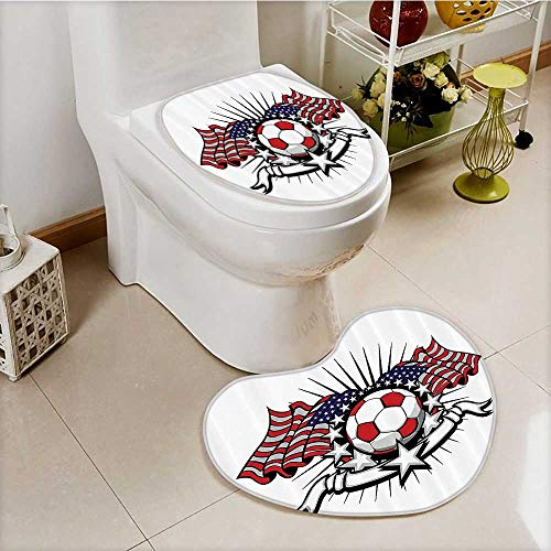 vanfan 2 Piece Shower Mat set Stripes Patriotic American Soccer with American Flags Custom made Heart shaped foot pad Set by vanfan