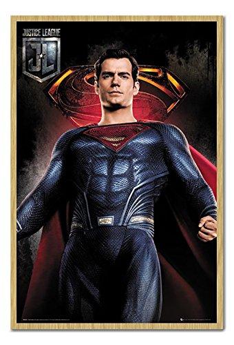 Justice League Superman solo poster sughero pin lavagnetta faggio con cornice –  96.5 x 66 cms (circa 96, 5 x 66 cm) 5x 66cm) iPosters