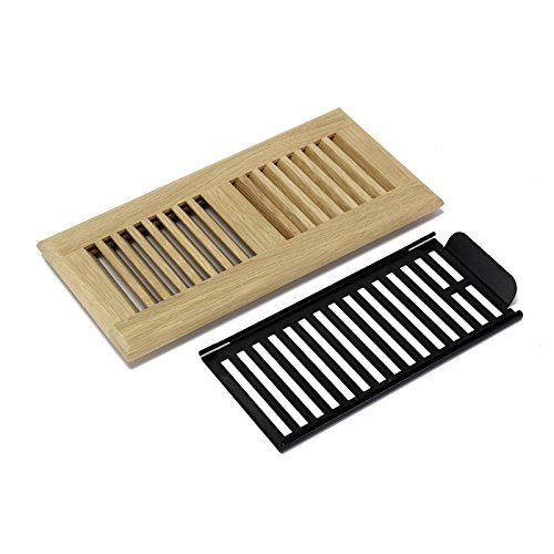 4 X 14 Inch White Oak Wood Self Rimming Floor Register Vent Cover Grille Unfinished with Damper by - Floor Wood Vent