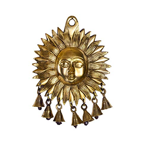 CraftVatika Large Lord Sun Wall Hanging Sculpture Home Decor | Metal Lord Surya Round Decorative Wall Art ()