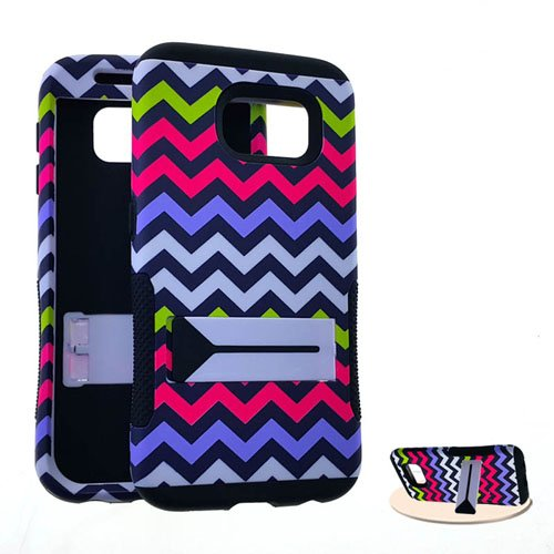 STRONG HOPPER HYBRID COVER HARD AND SOFT SILICONE SNAP SKIN CASE WITH KICKSTAND FOR SAMSUNG GALAXY S6, G920 AT&T, CRICKET, METRO PCS, T-MOBILE, BOOST, SPRINT, VERIZON, VIRGIN MOBILE, U.S CELLULAR CHEVRON YELLOW PINK BLUE WHITE WITH STAND