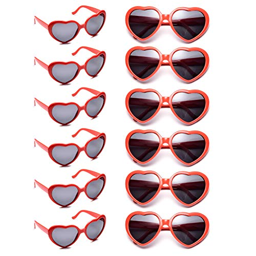 (12 Pack Wholesales Heart Shape Design Neon Colors Cute Love Sunglasses for Birthday, Bachelorette, Sunmmer Vacation Parties 100% UV Protection Eyewear for Women and Girls (red))