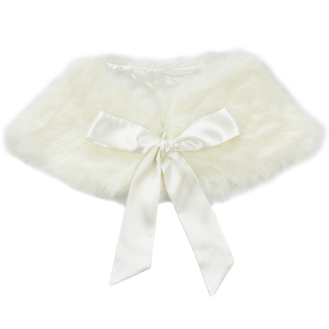 Sunnygirls Girls Faux Fur Ribbon Ties Flower Dress Bolero Shrug Princess Cape china