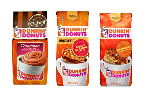 Dunkin Donuts Ground Coffee Variety Pack of 3 Bags - Bakery Series - Caramel Coffee Cake, Dulce De Leche, & Cinnamon Coffee Roll - 11 oz per Bag