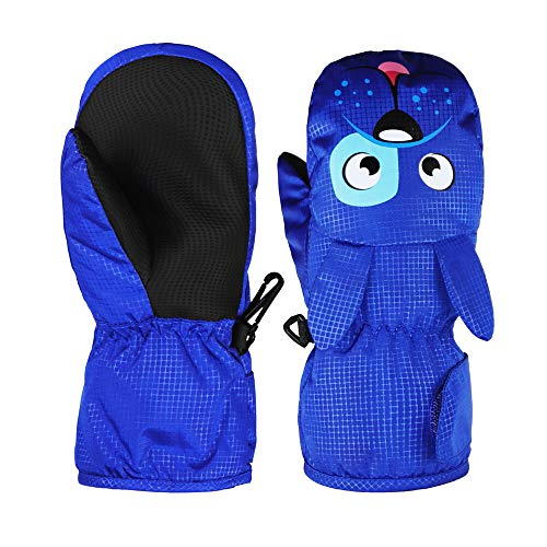 (YR.Lover Kids Winter Snow & Ski Mittens - Youth Mitts Gloves Designed for Skiing & Snowboarding -Synthetic Leather Palm - Fits Toddlers(6-8 Years))