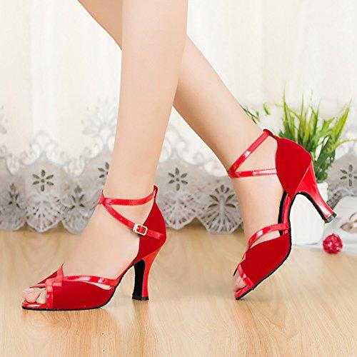 Talons Salon Mou Chaussures Latine Rouge Moyens Womens Danse Fond Danse de Chaussures Chaussures Moderne de WYMNAME de de Danse TxXpqW