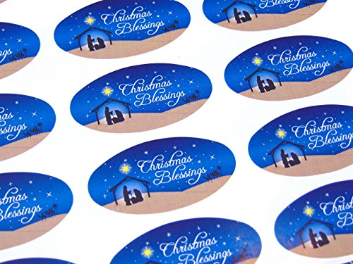 Pack of 30 Christian, Religious Christmas Oval Stickers, Colorful Envelope Seals Labels for Cards, Festive Craft and Decoration