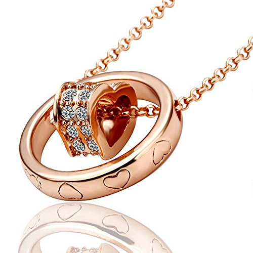 Round Shape Charm Necklace Antiallergic 18K Bohemian Plated Rose Gold Jewelry (18k Gold Heart Charm)