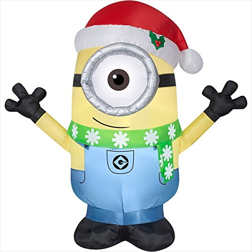 Gemmy Christmas Inflatable Minion Carl W/ Santa Hat & Scarf Prop Decoration (Air Blown Inflatables)
