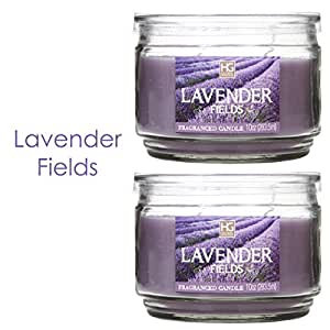 Hosley Set of 2 Lavender Fields Highly Scented, 2 Wick, 10 Oz wax, Jar Candle. Ideal votive GIFT for party favor, weddings, Spa, Reiki, Meditation, Bathroom settings