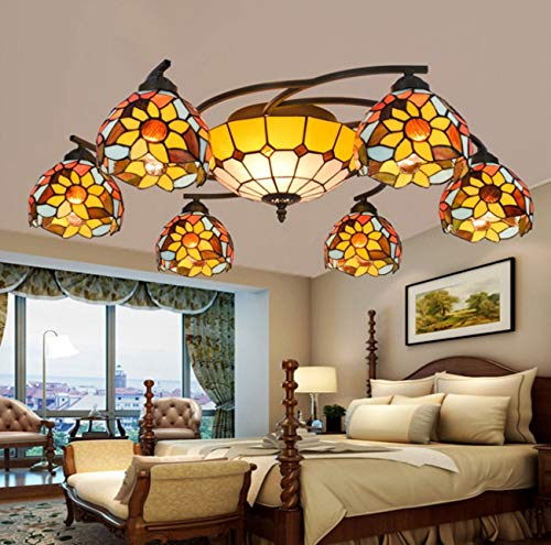 Tiffany Style Stained Glass 6 Arms Sun Flower Art Chandelier with 12 Inches Inverted Ceiling Pendant Lamp for Bedroom,110-220V(Without Light Bulbs) ()
