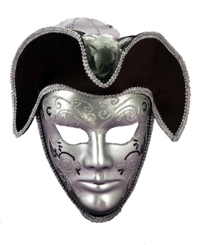 Forum Novelties Men's Venetian Style Mask, Silver/Black, One Size