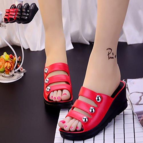 C rivetto nbsp;Estate 38 antiscivolo spessore toe alto di pantofole donna Kit rosso Moda pantofole Fankou cool da scarpe tacco Taxwdqq5