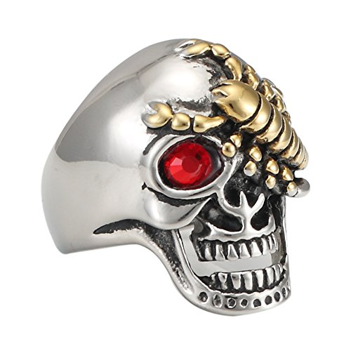 (316L Stainless Steel Gold Scorpion Skull Ring With Red Eye Stone for men's (12))