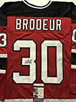 Autographed/Signed Martin Marty Brodeur New Jersey Devils Red Hockey Jersey JSA COA