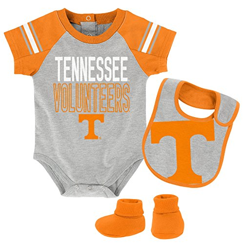 NCAA Tennessee Volunteers Newborn & Infant Blitz Bodysuit, Bib & Booties, Heather Grey, 6-9 Months by NCAA by Outerstuff