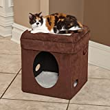 "MidWest 137-BR ""The Original"" Curious Cat Cube, Cat House / Cat Condo in Brown Faux Suede & Synthetic Sheepskin"