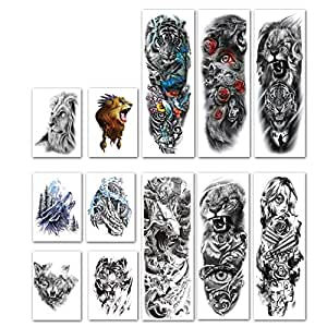 Kotbs 12 Sheets Full Arm Temporary Tattoo Dragon Tiger Waterproof Full Arm and Half Arm Sleeves Body Tattoo Stickers