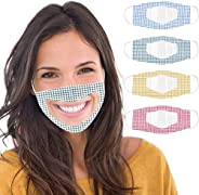 Futomcop 4 Pcs Reusable Anti Dust Unisex Mouth Face Bandanas, with Clear Window Visible Expression for The Dea