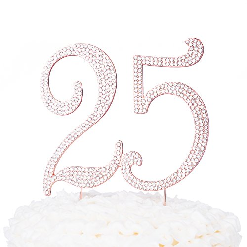 Ella Celebration 25 Cake Topper for 25th Birthday or Anniversary Party Rose Gold Metal Decoration (Rose Gold)