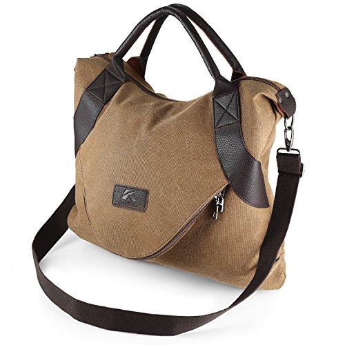 Large Brown Bag Aizbo by Shoulder Bag Hanle Women Canvas Top Vintage for Messenger Capacity Bag qZTwHBXXx