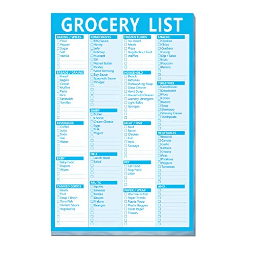 90 Pages Grocery Shopping Weekly Planner List Note Pad with Magnet Mountings (6″ x 9″)
