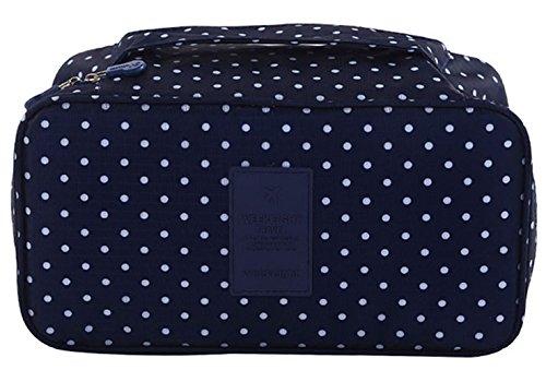 iSuperb Travel Bra Organizer Bag Underwear Pouch Waterproof Personal Garment Bag Case (Dark Blue with Polka Dot)