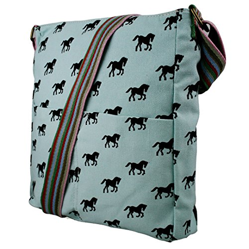 Miss Lulu Damen Leinwand Tasche Schultertasche Cross Body Messenger Bag Tupfendruck Elefant Katzen Eule Blumen Gepunktet Schmetterling Schulranzen Satchel Horse Blue