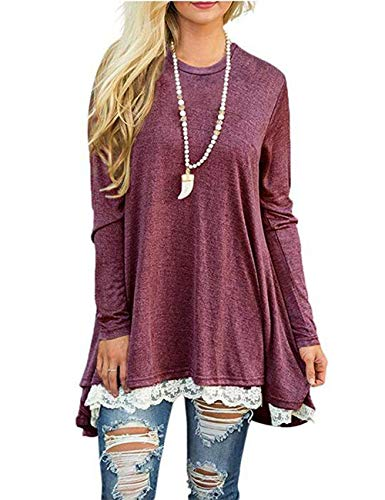 Women's Lace Long Sleeve Tops Casual Round Neck Top Blouses