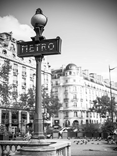 MP PHOTOGRAPHY LANDMARK RETRO METRO SIGN PARIS FRANCE BLACK WHITE 18x24 INCH ART POSTER PRINT PICTURE (Metro Sign)