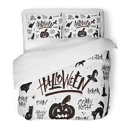 Emvency Bedding Duvet Cover Set King Size (1 Duvet Cover + 2 Pillowcase) Cat Halloween Lettering and Clipart On White Pictures Merchandising Overlays Autumn Hotel Quality Wrinkle and Stain Resistant
