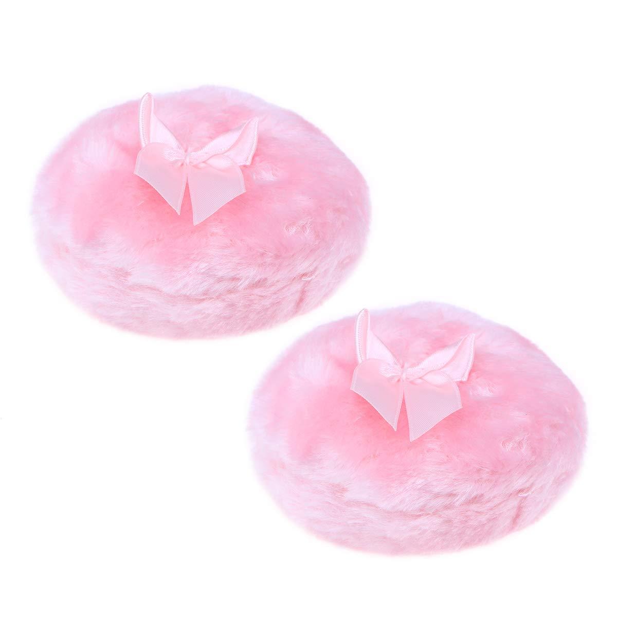 Frcolor 2 Stück flauschige Puderquaste mit Bowknot große weiche Make-up Puder Schwamm Puff waschbar Runde Schwamm Puff für Körper Gesicht (Pink)