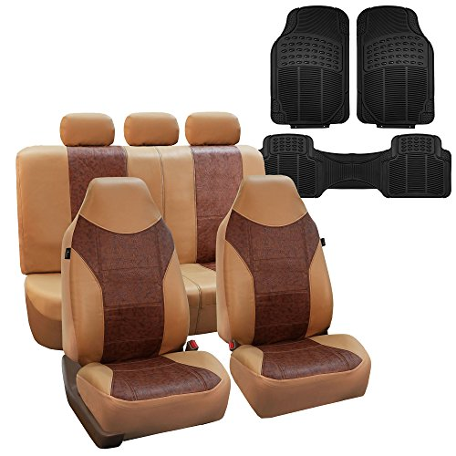 FH Group FH-PU160115 PU Textured High Back Leather Car Seat Covers Solid...