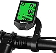 Bicycle Computer Wireless Speedometer, Big Font Data Display Waterproof Automatic Wake-up Stopwatch with LCD B