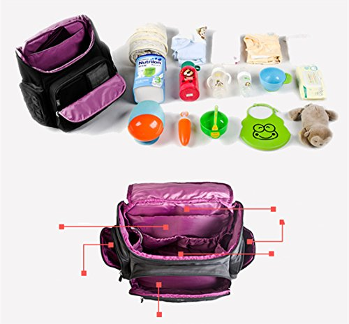 BigForest 4 pieces in 1 set Multifunction Baby Diaper Nappy Changing Bag Mummy Backpack Travel Bag Tote Handbag Purple