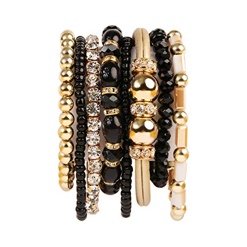 RIAH FASHION Multi Layer Strand Sparkly Stack Bracelets - Rhinestone Crystal Colorful Beaded Statement Stretch Adjustable Bangle Set (Leatherette Mix - ()
