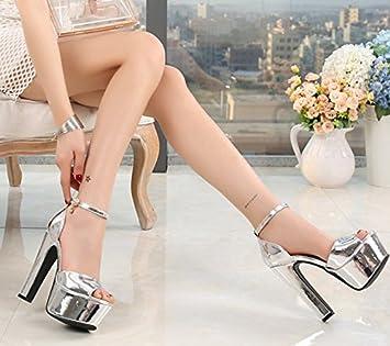 XiaoGao 14 centimètres de super talon sandales,white