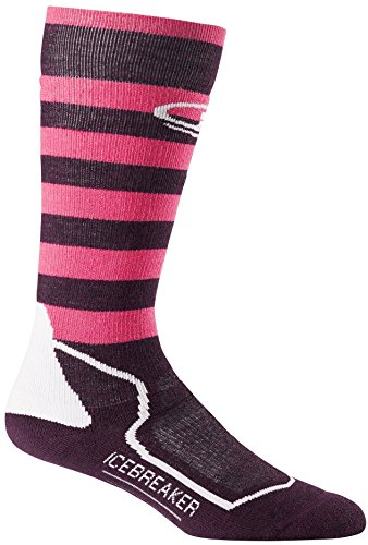 Icebreaker Women's Sb+ Medium OTC Socks, Bordeaux Heather/Shocking/White, Medium