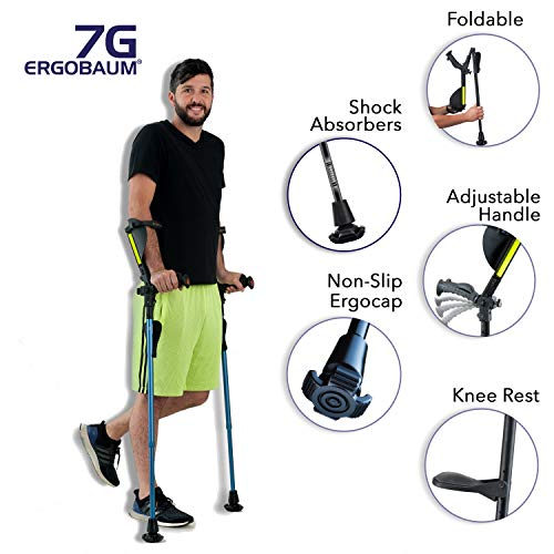 "New Smart Light Therapy Glasses Ergobaum 7G by Ergoactives. 1 Pair (2 Units) of Ergonomic Forearm Crutches – Adult 5′ – 6'6"" Adjustable, Foldable, Ergonomic, Shock Absorber, Non-Slip, Knee-Rest Platforms, LED Lights (Black) 2019"