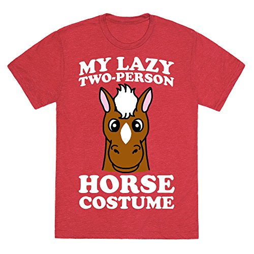 [My Lazy Two-Person Horse Costume (head) Heathered Red Men's Heathered Tee by LookHUMAN] (2 Person Halloween Costume)