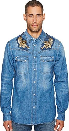 Just Cavalli  Men's Denim Western Button Down Blue (Embellished Denim Shirt)